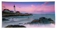 Maine Portland Headlight Lighthouse At Sunset Panorama Beach Towel