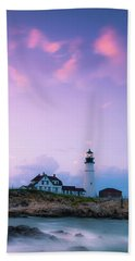 Maine Portland Headlight Lighthouse In Blue Hour Beach Towel