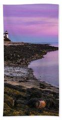 Maine Prospect Harbor Lighthouse Sunset In Winter Beach Towel
