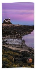 Maine Prospect Harbor Lighthouse Sunset In Winter Beach Towel