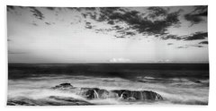Maine Rocky Coast With Boulders And Clouds At Two Lights Park Beach Towel
