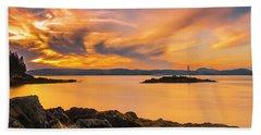 Maine Rocky Coastal Sunset In Penobscot Bay Panorama Beach Towel