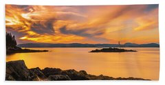 Maine Rocky Coastal Sunset In Penobscot Bay Panorama Beach Towel
