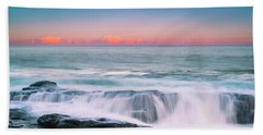 Maine Rocky Coastal Sunset Panorama Beach Towel