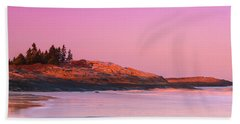 Maine Sheepscot River Bay With Cuckolds Lighthouse Sunset Panorama Beach Towel