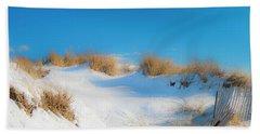 Maine Snow Dunes On Coast In Winter Panorama Beach Towel