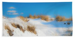 Maine Snow Dunes On Coast In Winter Panorama Beach Towel