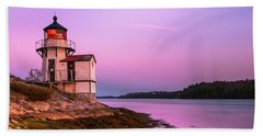 Maine Squirrel Point Lighthouse On Kennebec River Sunset Panorama Beach Towel
