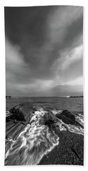 Maine Storm Clouds And Crashing Waves On Rocky Coast Beach Towel