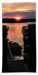 Maine Sunset And Traps Beach Towel