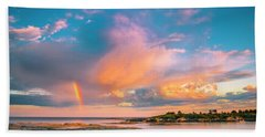 Maine Sunset - Rainbow Over Lands End Coast Beach Towel