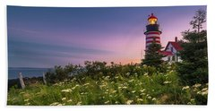 Maine West Quoddy Head Lighthouse Sunset Beach Towel