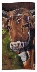 Beach Towel featuring the painting Maisy The Cow- Brown Cow - Moo by Jan Dappen