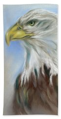 Beach Towel featuring the pastel Majestic Bald Eagle by MM Anderson