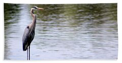 Majestic Great Blue Heron Beach Sheet