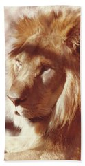 Beach Towel featuring the painting Majestic Lion by Margaret Harmon