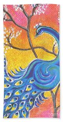 Majestic Peacock Colorful Textured Art Beach Sheet