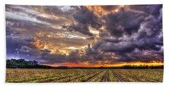Beach Towel featuring the photograph Majestic Peanut Harvest Sunset Art by Reid Callaway