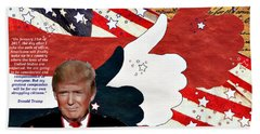 Beach Sheet featuring the digital art Make America Great Again - President Donald Trump by Glenn McCarthy Art and Photography