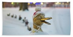 Make Way For Ducklings Winter Hats Boston Public Garden Christmas Beach Towel