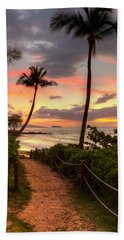 Beach Towel featuring the photograph Makena Sunset Path by Susan Rissi Tregoning