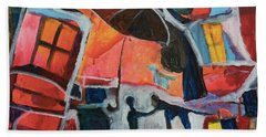 Beach Towel featuring the painting Making Friends Under The Umbrella by Susan Stone