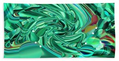 Malachite Green Sea Bubbles Beach Towel