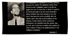 Malcolm X  On Capitalism And Vultures Beach Towel