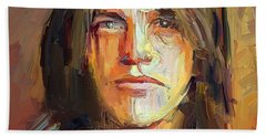 Malcolm Young Acdc Tribute Portrait Beach Sheet