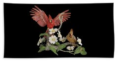 Male And Female Cardinals  Beach Towel