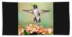 Male Black-chinned Hummingbird Beach Towel