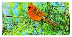 Male Cardinal In Juniper Tree Beach Towel