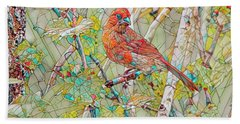 Male Cardinal Mosiac Beach Towel