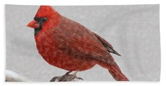 Beach Sheet featuring the painting Male Cardinal In Snow by Rand Herron