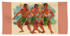 Male Dancers Of Lifuka, Tonga Beach Towel