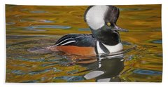 Beach Towel featuring the photograph Male Hooded Merganser Duck by Susan Candelario