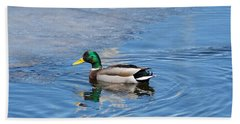 Beach Towel featuring the photograph Male Mallard Duck by Michael Peychich