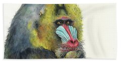 Male Mandrill Beach Towel