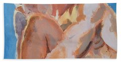 Male Nude Painting Beach Towel