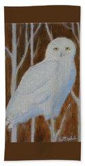Male Snowy Owl Portrait Beach Towel