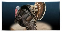Male Turkey Strutting Beach Sheet