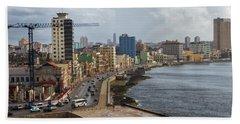 Malecon In Havana Beach Sheet by Arthur Dodd