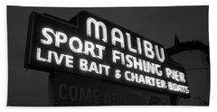 Malibu Pier Sign In Bw Beach Towel