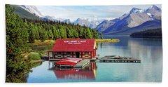 Maligne Lake Boathouse Beach Towel