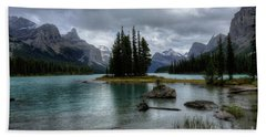 Maligne Lake Spirit Island Jasper National Park Alberta Canada Beach Towel