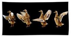 Mallard Duck Stretching Her Wings Beach Sheet