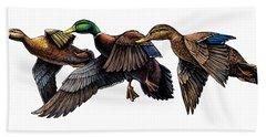 Mallard Ducks In Flight Beach Towel