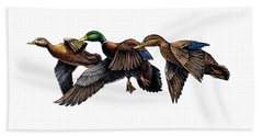 Mallard Ducks In Flight Beach Towel