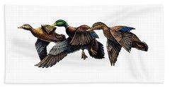 Mallard Ducks In Flight Beach Sheet
