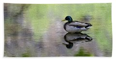 Beach Sheet featuring the photograph Mallard In Mountain Water by Mark Myhaver